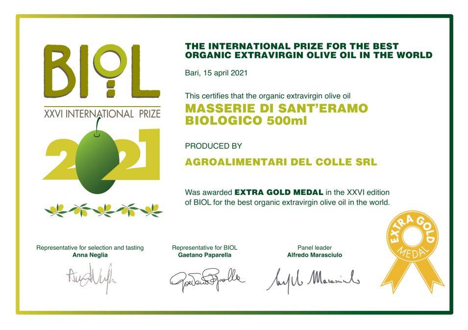 Masserie Di Sant'Eram XXVI Edition of BIOL for the Best Organic Extra Virgin Olive Oil in the World 2021