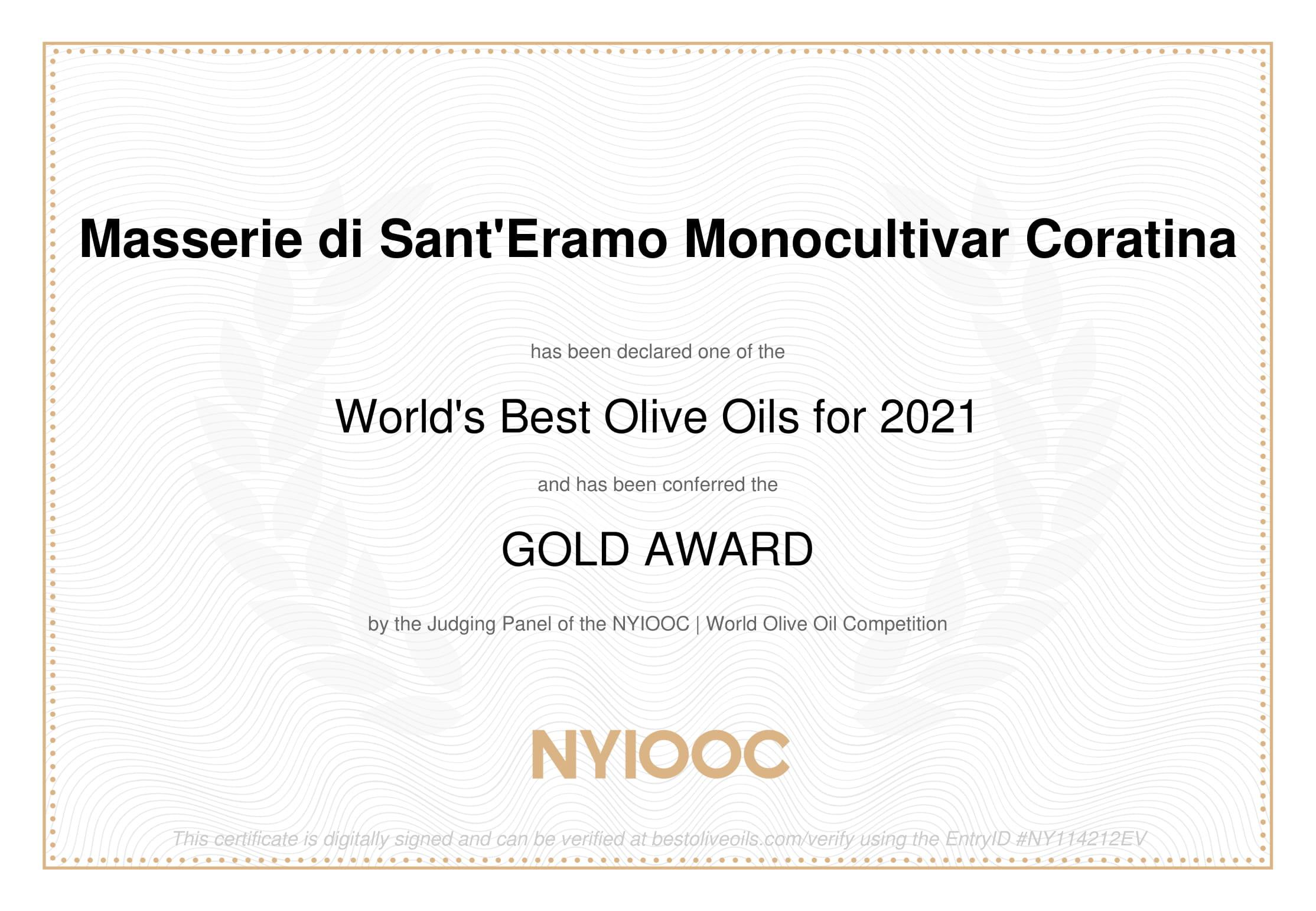 Masserie Di Sant'Eramo  MONOCULTIVAR EXTRA VIRGIN OLIVE OIL – GOLD AWARD WINNERS of NYIOOC World's Best Olive Oils 2021